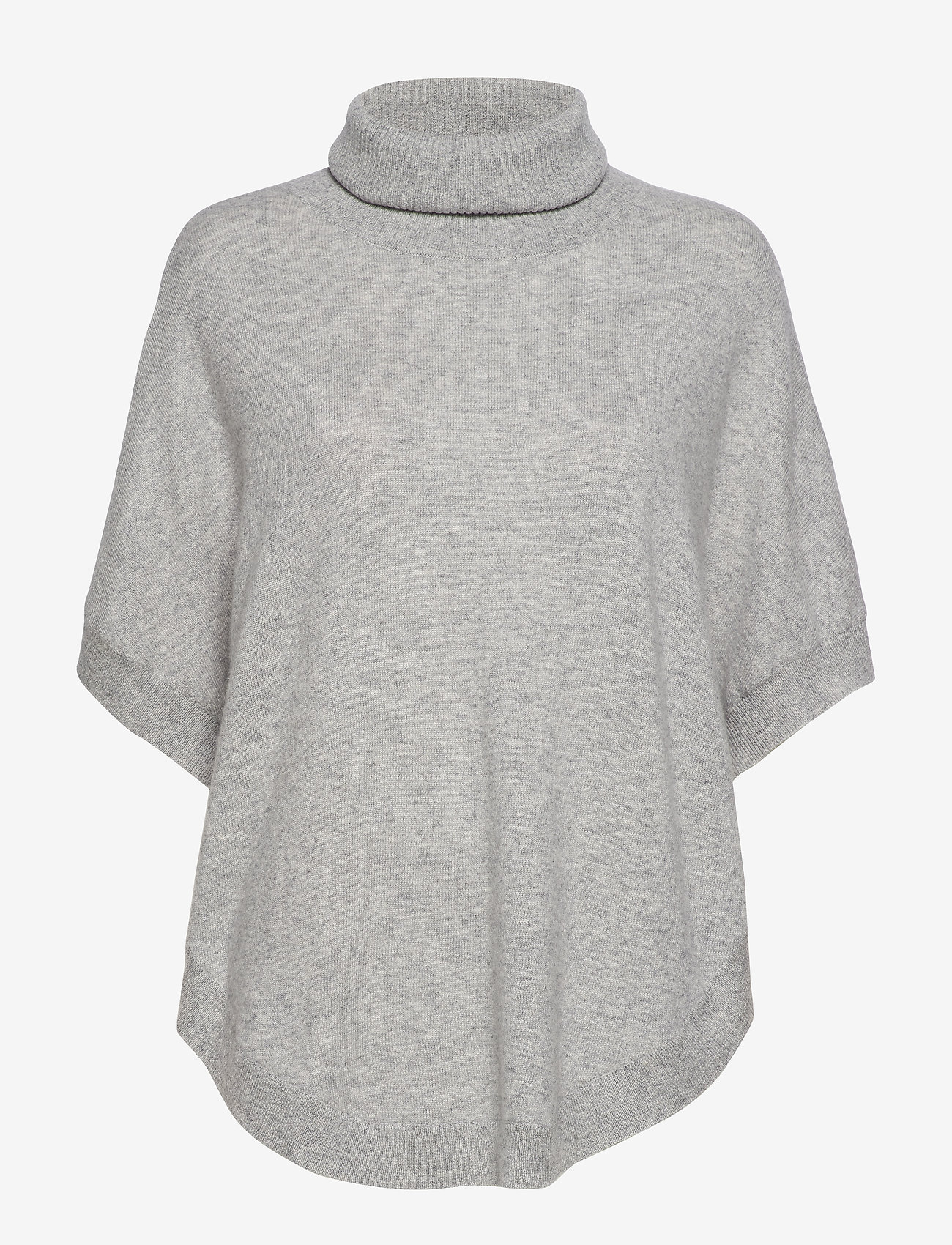 Davida Cashmere - Turtleneck Round Poncho - turtlenecks - light grey - 0