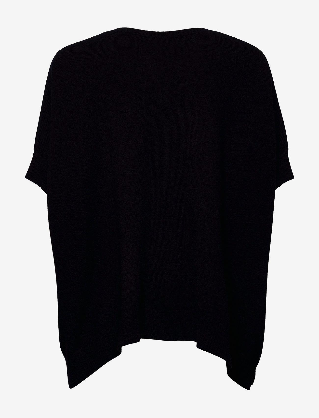 Davida Cashmere - O-neck Poncho Vest - ponchos & capes - navy - 1