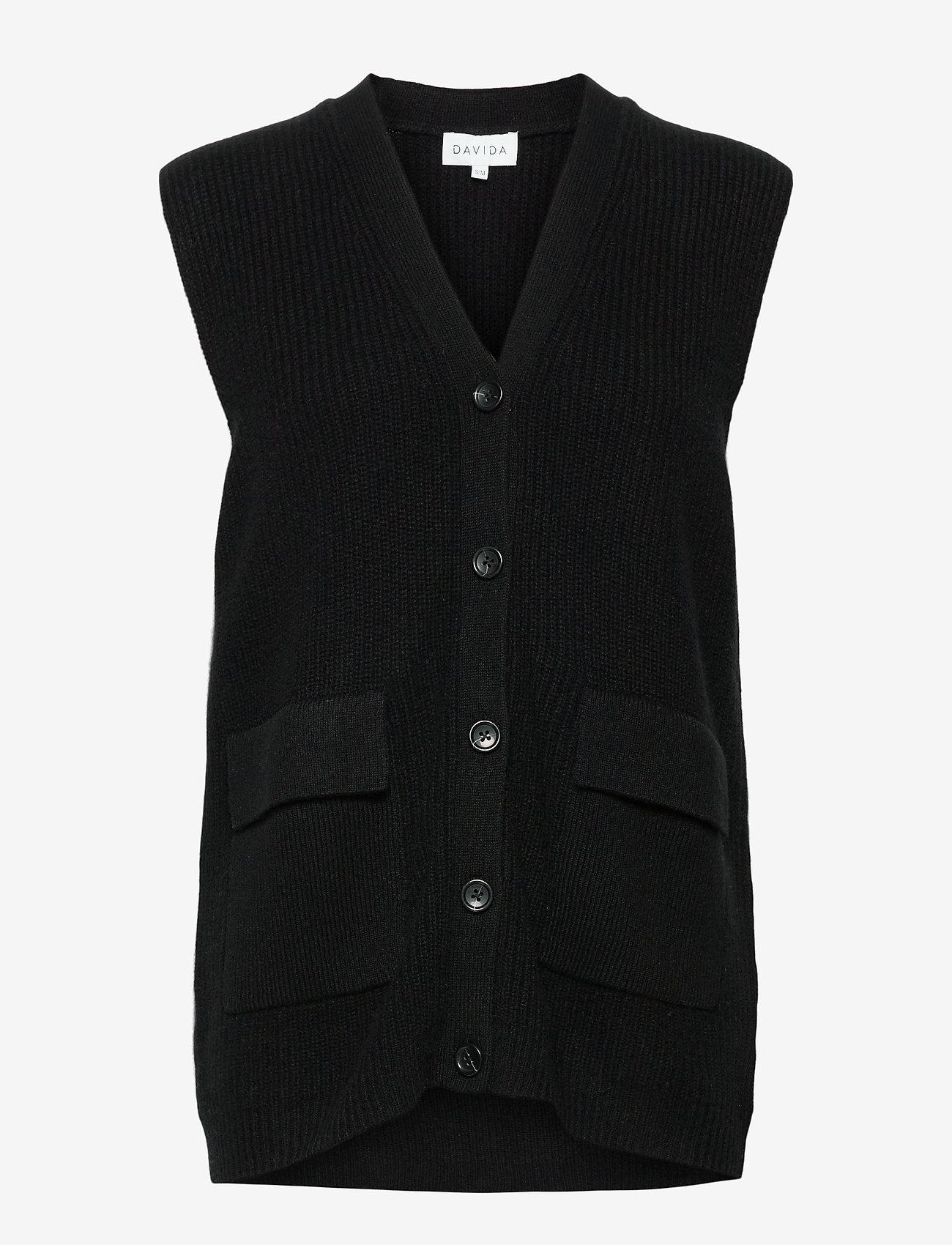 Davida Cashmere - Buttoned Vest - knitted vests - black - 0