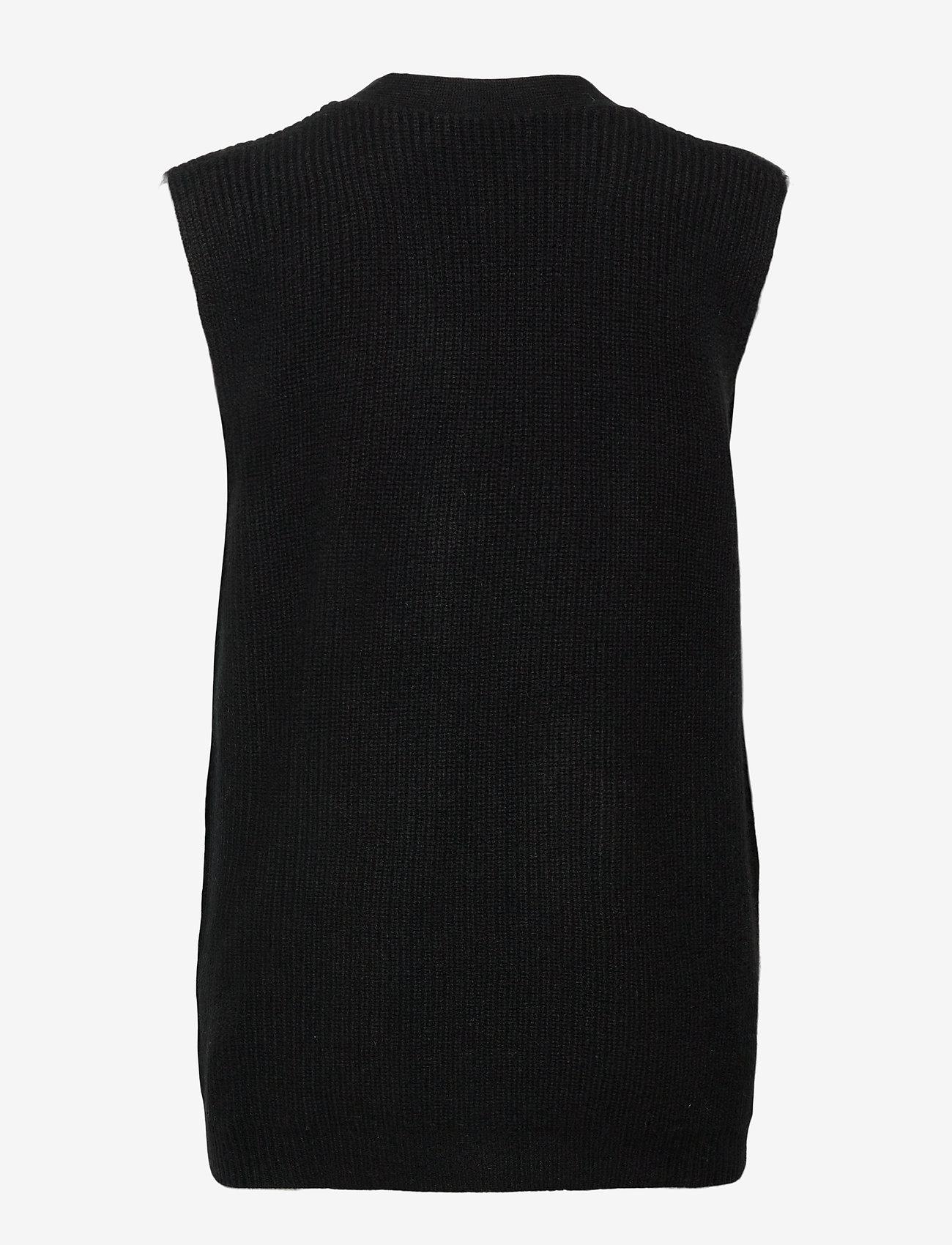 Davida Cashmere - Buttoned Vest - knitted vests - black - 1