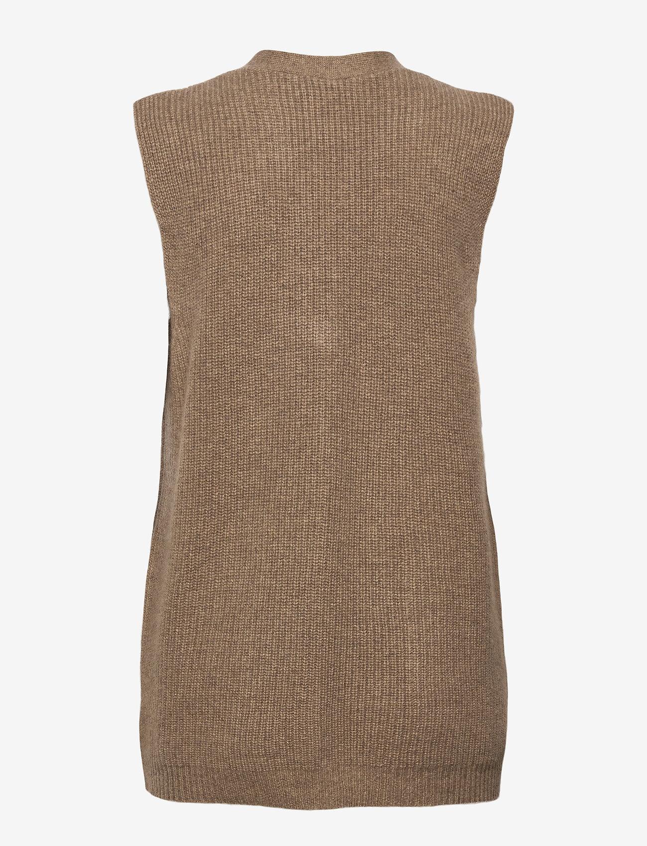 Davida Cashmere - Buttoned Vest - knitted vests - mink - 1