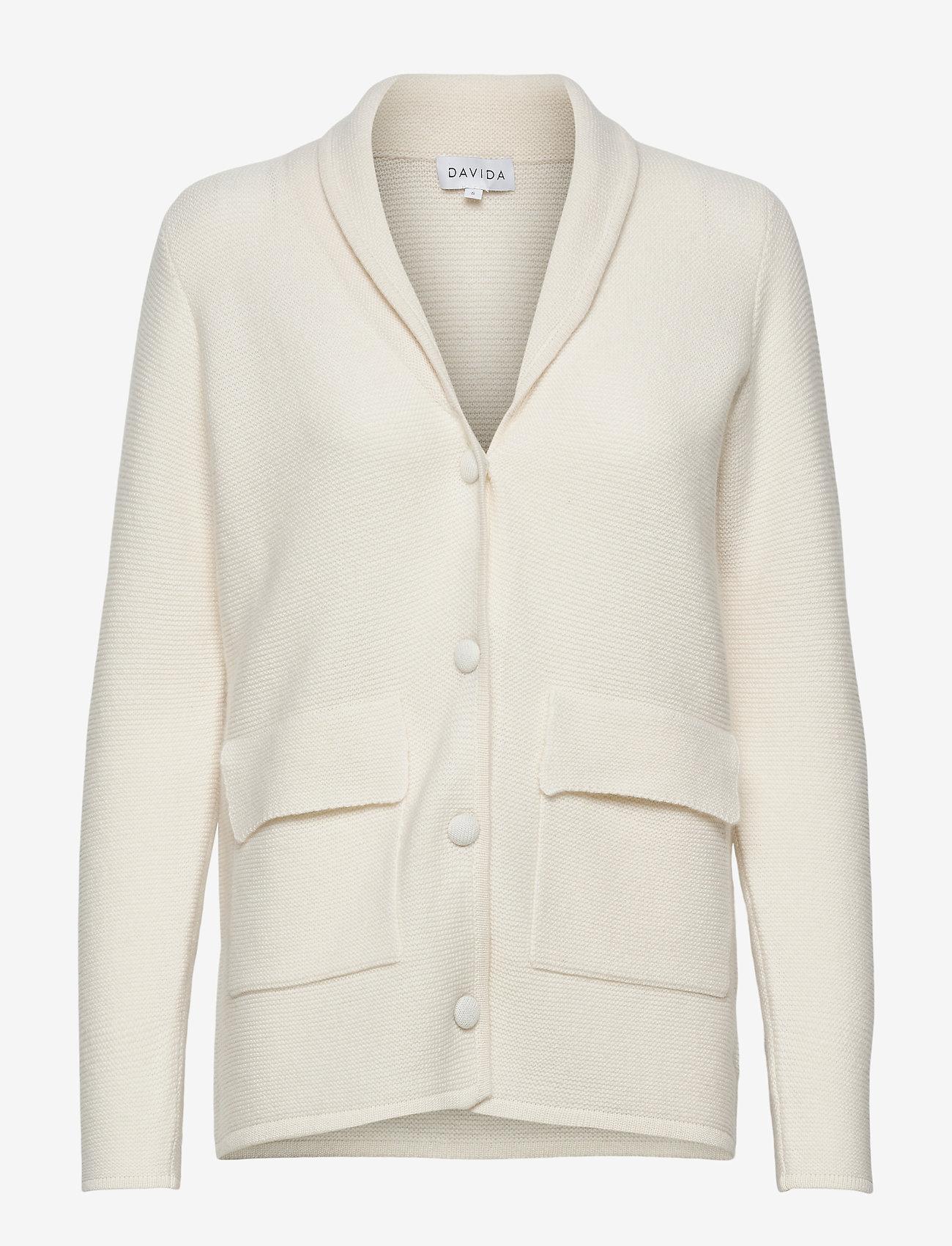 Davida Cashmere - Shawl Collar Jacket - cardigans - white - 0