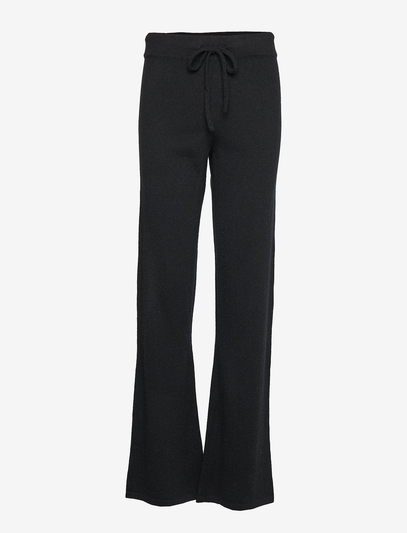 Davida Cashmere - Pants - wide leg trousers - black - 1