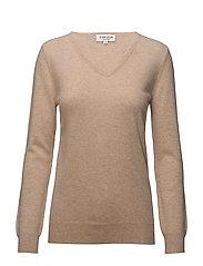 Basic sweater V-neck - CAMEL