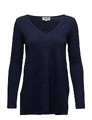 V-neck long sweater - DENIM BLUE
