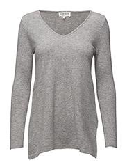 V-neck long sweater - LIGHT GREY