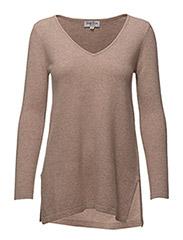 V-neck long sweater - SAND