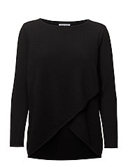 Wrap Front Sweater - BLACK