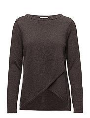 Wrap Front Sweater - DARK BROWN