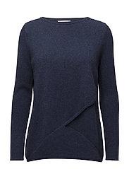 Wrap Front Sweater - DENIM BLUE