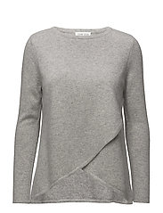 Wrap Front Sweater - LIGHT GREY