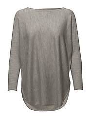 Curved Sweater Long - Baby Cashmere 16gg - LIGHT GREY