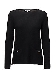 Front Pockets Box Sweater (WITH GOLD BUTTONS) - BLACK