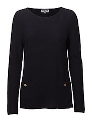 Front Pockets Box Sweater (WITH GOLD BUTTONS) - NAVY