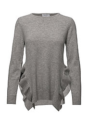 Side Slit Frill Sweater - LIGHT GREY