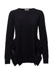 Side Slit Frill Sweater - NAVY