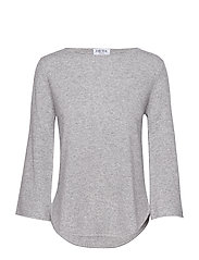 Quarter Wide Sleeve Sweater - LIGHT GREY