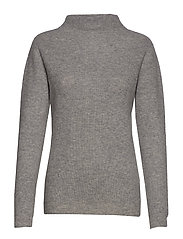 Rib Funnel Neck Sweater - LIGHT GREY