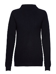 Rib Funnel Neck Sweater - NAVY