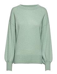 Balloon Sleeve Sweater - DUSTY GREEN