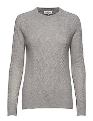 Cable Detail Sweater - LIGHT GREY