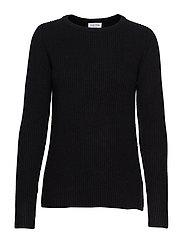 Chunky O-neck Rib Sweater - BLACK
