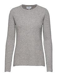 Chunky O-neck Rib Sweater - LIGHT GREY