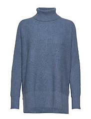 Rib Polo Loose Sweater - DUSTY BLUE