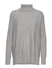 Rib Polo Loose Sweater - LIGHT GREY