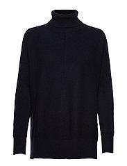 Rib Polo Loose Sweater - NAVY