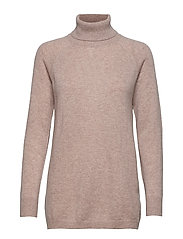 Raglan Turtleneck Loose Sweater - SAND