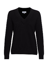 V-neck oversized sweater - BLACK
