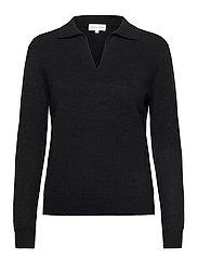 Open Collar Sweater - BLACK