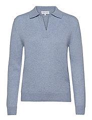 Open Collar Sweater - DUSTY LIGHT BLUE