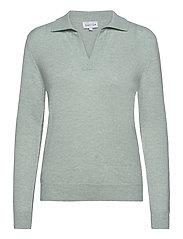 Open Collar Sweater - LIGHT GREEN