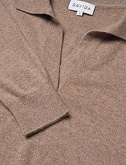 Davida Cashmere - Open Collar Sweater - sweaters - mink - 2