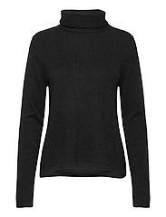 Fold Neck Sweater - BLACK