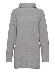 Oversized Rib Sweater - LIGHT GREY