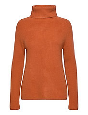 Raglan Rib Loose Fit Sweater - DARK RUST