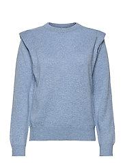 Shoulder Fold Sweater - DUSTY LIGHT BLUE