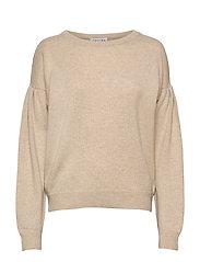 Volume Sleeve Sweater - LIGHT BEIGE