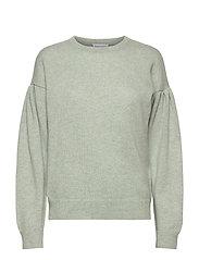 Volume Sleeve Sweater - LIGHT GREEN