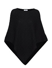 Triangle Cable Poncho - BLACK
