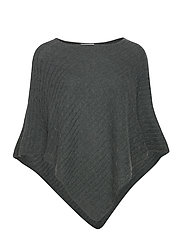 Triangle Cable Poncho - DEEP GREEN MELANGE