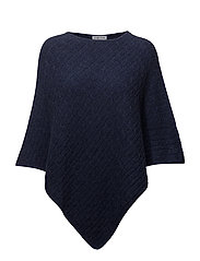 Triangle Cable Poncho - DENIM BLUE