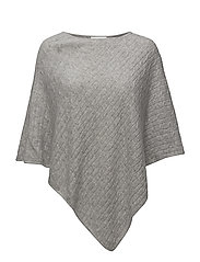Triangle Cable Poncho - LIGHT GREY
