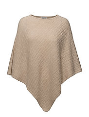 Triangle Cable Poncho - WHEAT
