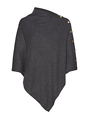 Poncho with Gold Buttons - DARK GREY