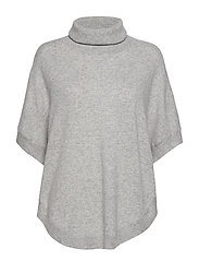 Turtleneck Round Poncho - LIGHT GREY