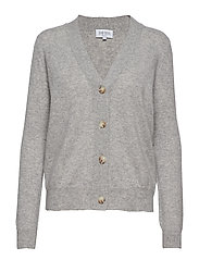 V-neck Boxy Cardigan - LIGHT GREY